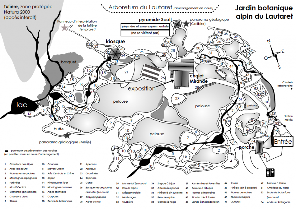 plan jardin botanique alpin - col du Lautaret